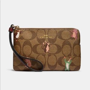 NWT Auth Signature Coach Wristlet Party Animals